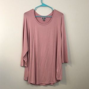 NWT JM Collection dusty rose 3/4 length shirt 1x